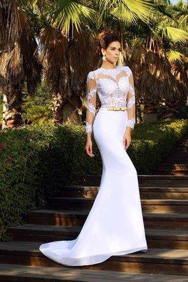 Robe de mariée naturel longue en forme col u profond de traîne moyenne