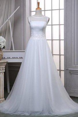 Robe de mariée naturel longue textile en tulle ligne a d'epaule ecrite