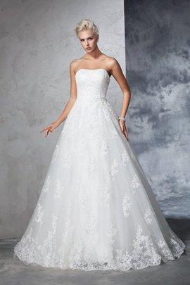 Robe de mariée longue de traîne moyenne de mode de bal de bustier manche nulle