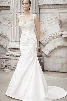 Robe de mariée plissage splendide de traîne courte jusqu'au sol salle interne