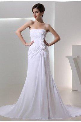 Robe de mariée plissage avec sans manches en chiffon cordon de tour de ceinture en haute