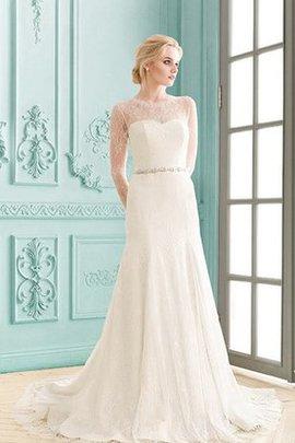 Robe de mariée modeste avec manche longue de traîne courte col en bateau avec cristal