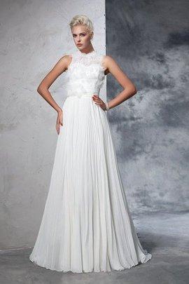 Robe de mariée longue manche nulle avec fronce en chiffon de traîne moyenne