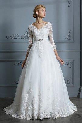 Robe de mariée de mode de bal avec manche 3/4 de traîne moyenne v encolure incroyable