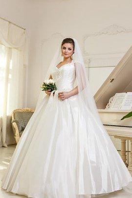 Robe de mariée ruché de col en v avec manche courte cordon de mode de bal