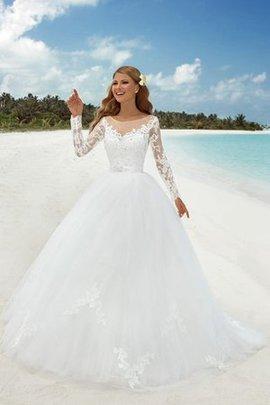 Robe de mariée romantique vintage textile en tulle avec manche longue en dentelle