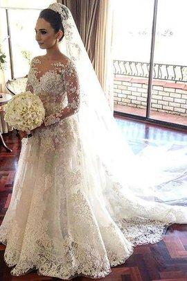 Robe de mariée naturel de traîne mi-longue avec manche longue de princesse ligne a