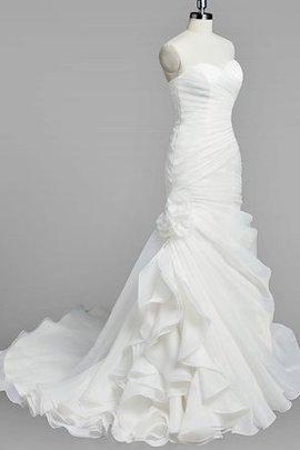 Robe de mariée col en forme de cœur ruché de traîne moyenne de sirène avec lacets