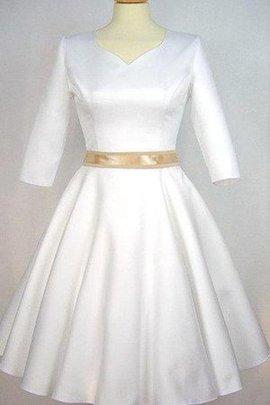 Robe de mariée courte v encolure avec manche 1/2 ceinture avec nœud