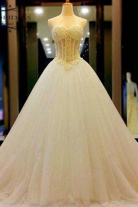 Robe de mariée avec perle col en forme de cœur en tulle gracieux manche nulle