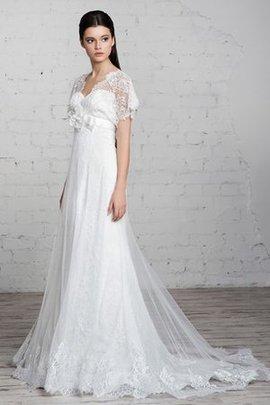 Robe de mariée simple de traîne courte v encolure avec ruban avec fleurs