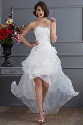 Robe de mariée naturel haut bas avec perle decoration en fleur asymétrique