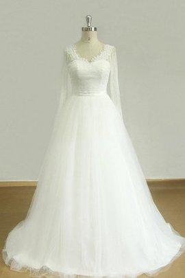 Robe de mariée avec perle ceinture en dentelle ligne a en tulle