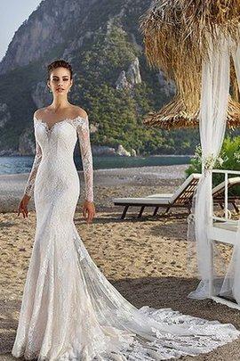 Robe de mariée impressioé elégant avec manche longue broder de traîne moyenne