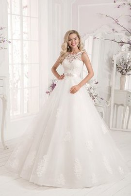 Robe de mariée festonné classique avec décoration dentelle manche nulle en organza