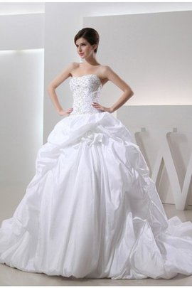 Robe de mariée longue cordon avec perle de traîne longue avec sans manches
