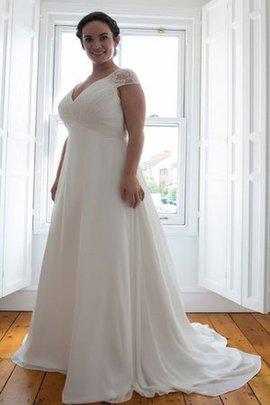 Robe de mariée simple en chiffon ligne a avec manche épeules enveloppants ruché