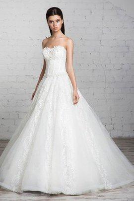 Robe de mariée longue jusqu'au sol decoration en fleur ligne a textile en tulle