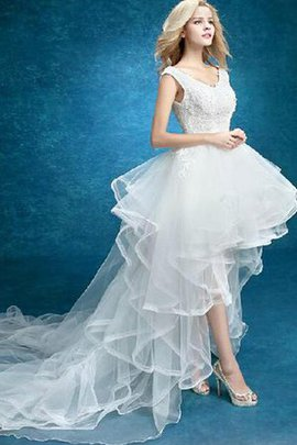 Robe de mariée sexy de traîne moyenne v encolure manche nulle en dentelle
