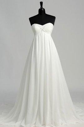 Robe de mariée plissage de traîne moyenne croisade avec perle de col en cœur