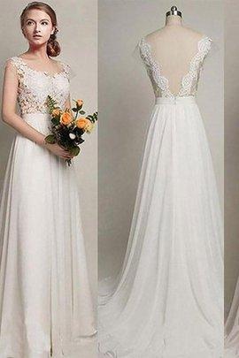 Robe de mariée naturel a-ligne manche nulle encolure ronde avec chiffon