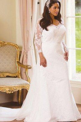 Robe de mariée facile distinguee v encolure de traîne moyenne avec décoration dentelle
