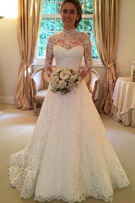 Robe de mariée naturel de mode de bal avec manche longue elevé de traîne moyenne