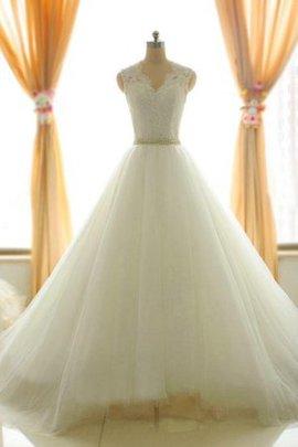 Robe de mariée longueur au ras du sol ligne a cordon avec zip textile en tulle