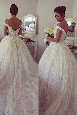 Robe de mariée naturel manche nulle de mode de bal epaule nue avec décoration dentelle