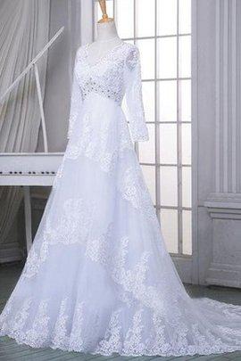 Robe de mariée naturel fermeutre eclair avec manche longue ligne a avec perle