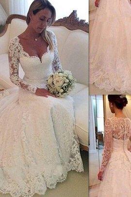 Robe de mariée naturel v encolure textile en tulle avec manche longue de mode de bal