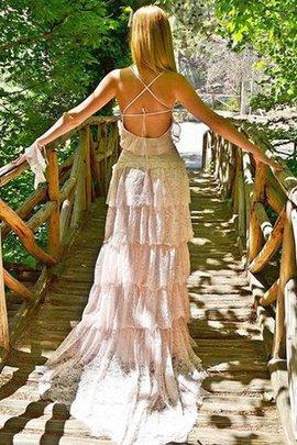 Robe de mariée vintage manche nulle de traîne courte ligne a bandouliere spaghetti