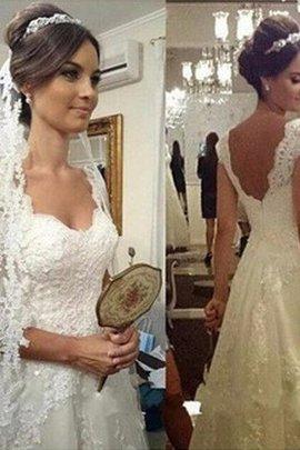 Robe de mariée jusqu'au sol a-ligne manche nulle de princesse textile en tulle