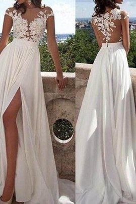 Robe de mariée de princesse en chiffon avec manche courte col u profond jusqu'au sol