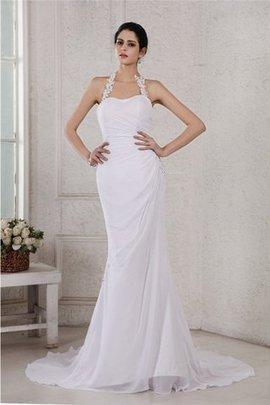Robe de mariée longue de traîne moyenne de sirène sans dos avec perle