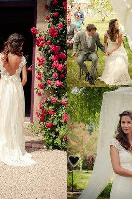 Robe de mariée naturel de princesse avec perle textile en tulle a-ligne