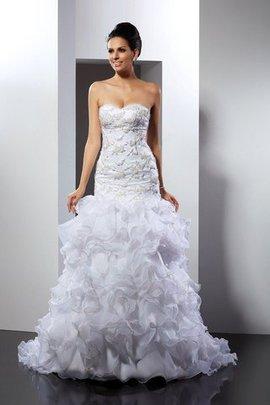 Robe de mariée longue en organza de col en cœur de traîne mi-longue avec perle