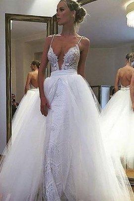 Robe de mariée naturel ligne a en tulle longueur au ras du sol avec sans manches