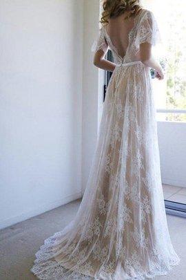 Robe de mariée honorable de traîne courte de princesse v encolure ceinture