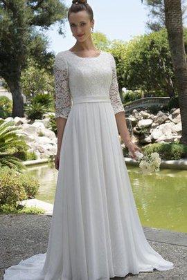 Robe de mariée simple nature distinguee avec sans manches en chiffon