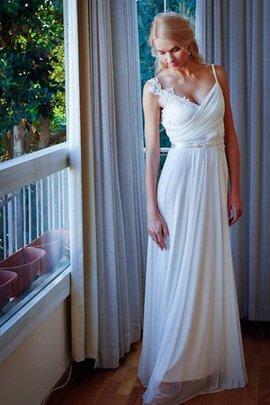 Robe de mariée décontracté jusqu'au sol a-ligne v encolure ceinture
