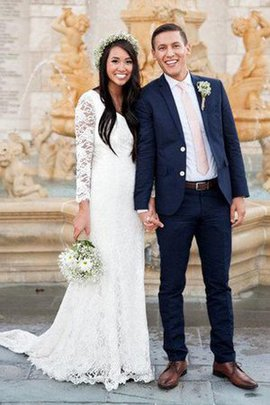 Robe de mariée vintage encolure ronde en forme fermeutre eclair avec nœud