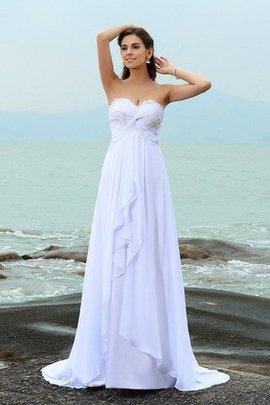 Robe de mariée longue de princesse en chiffon en plage fermeutre eclair