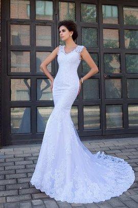 Robe de mariée decoration en fleur en satin de traîne mi-longue v encolure de sirène