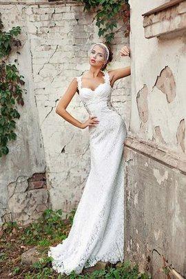 Robe de mariée luxueux longue en dentelle avec zip cordon