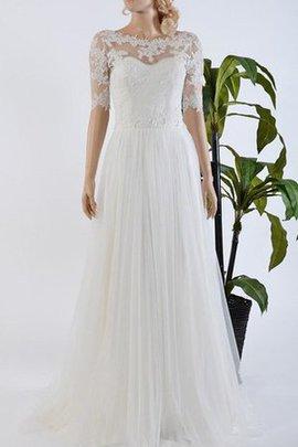 Robe de mariée appliques avec décoration dentelle cordon de traîne courte avec bouton