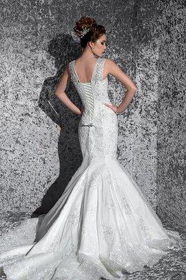 Robe de mariée cordon v encolure jusqu'au sol de traîne courte avec perle