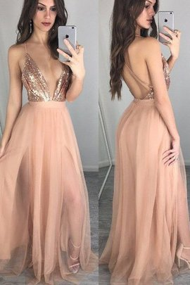 Robe de bal brillant fermeutre eclair a-ligne avec sans manches de princesse