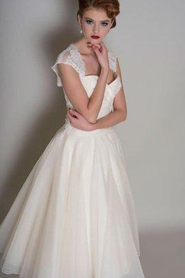 Robe de mariée naturel intemporel avec décoration dentelle ligne a en organza