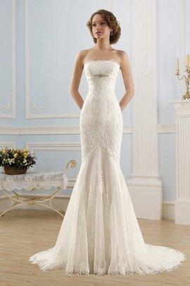 Robe de mariée cordon avec perle de bustier de traîne moyenne en dentelle